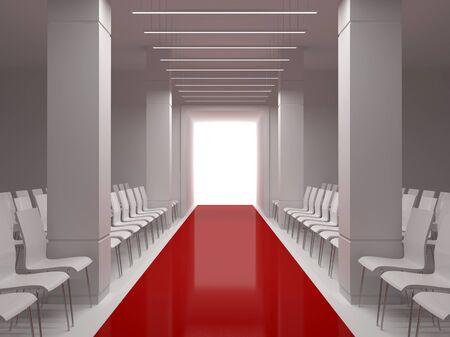 Hall with a podium, columns and red carpet Zdjęcie Seryjne