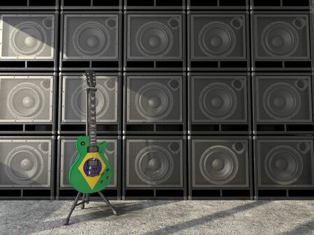 Electric guitar with the Brazil flag