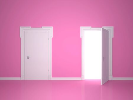 Open and closed the door on the pink wall background