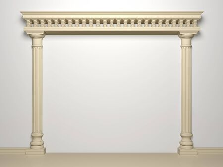 Classical portal with columns on a white background Stockfoto
