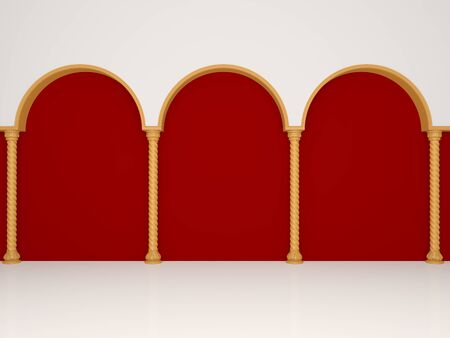 Luxurious red wall with graceful columns and arches