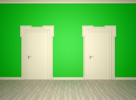 Open and closed the door on the green wall background Stok Fotoğraf
