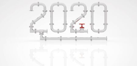 New Year 2020 from chrome pipes and red taps on a white background. 3D render.