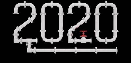New Year 2020 made of chrome pipes surrounded by a frame isolated on a black background. 3D render.
