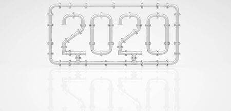 New Year 2020 made of chrome pipes surrounded by a frame on a white background. 3D render.