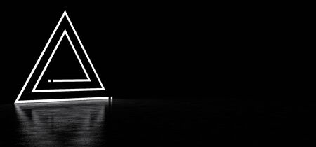 Luminous triangle consisting of lines and dots in a dark space reflected in a glossy floor. 3D Render