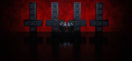 The drum is set against the background of four crosses, consisting of guitar amplifiers highlighted in red. 3D render.