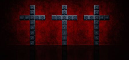 Three crosses of guitar amps highlighted in red in a dark space. 3D render.
