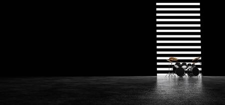 Drum set against the wall of their horizontal luminous stripes. 3D render.