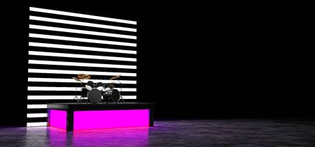 The drum kit stands on the podium glowing pink, and behind them a wall of horizontal luminous stripes. 3D Render.
