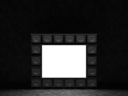 Luminous screen, the frame is made up of guitar amps. 3D Render. Stock Photo