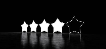 Five glowing stars rating. Glowing stars in dark space. 3D render