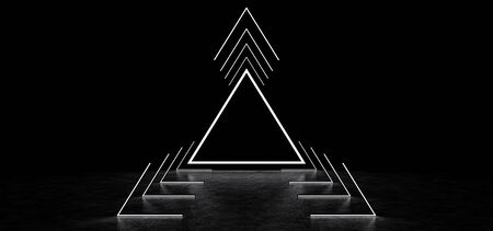 Abstract luminous pyramid in the dark space. Abstract surreal glowing triangle and luminous lines forming a corridor in dark space. 3D Render