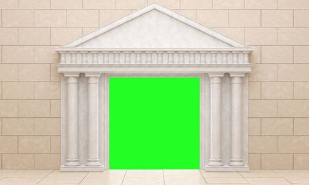 Beige portal in antique style, against a beige stone wall. Mock up frame of the classic columns Isolated on green. 3D Render