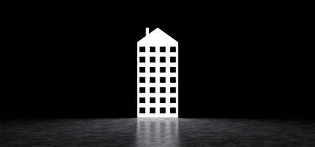 Glowing in the dark space icon in the form of a building. 3D Render