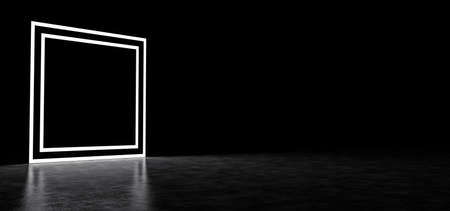 Glowing square frame in dark space. Glowing square portal. Glowing square. 3D Render Stockfoto