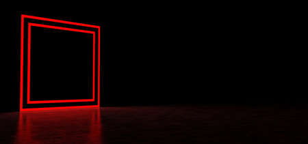 Glowing red square in a dark space. Luminous geometric figure. 3D Render