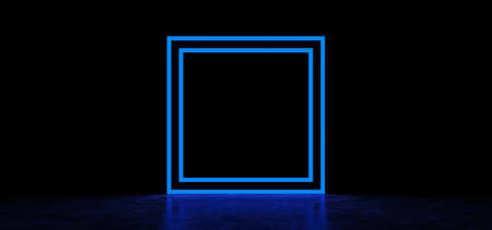 Glowing blue square in a dark space. Luminous geometric figure. 3D Render