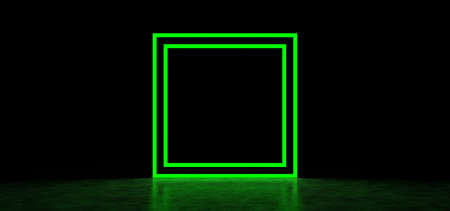 Glowing green square in a dark space. Luminous geometric figure. 3D Render Stockfoto
