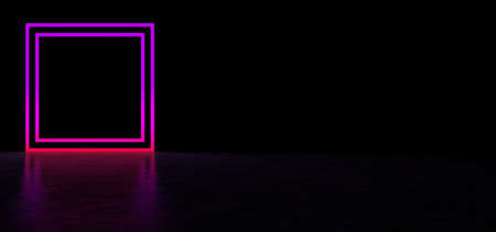 Glowing pink square in a dark space. Luminous geometric figure. 3D Render Stockfoto