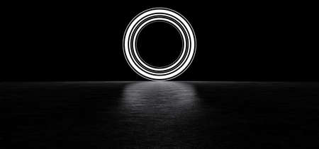 Glowing circle consists of several stripes. Luminous circle in dark space. Glowing round portal. 3D Render.