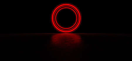 Glowing circle of red color in dark space. Glowing object in dark space. Glowing circle consisting of lines of different thickness. 3D Render