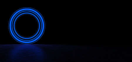Glowing circle of blue color in dark space. Glowing object in dark space. Glowing blue circle consisting of lines of different thickness. 3D Render