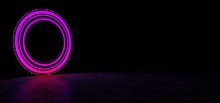 Glowing circle of purple in dark space. Glowing object in dark space. Glowing pink circle consisting of lines of different thickness.. 3D Render