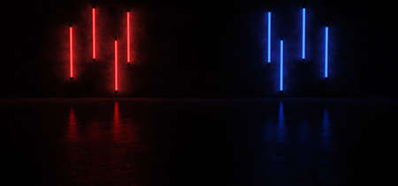 Vertical red and blue neon stripes on the concrete walls were reflected in the glossy floor. 3D Render. Standard-Bild