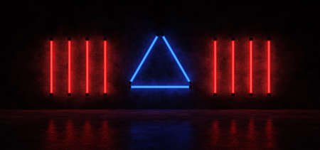 Neon pyramid and vertical lines on the background of a concrete wall in a dark space. 3D Render.