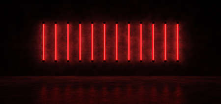 Glowing vertical stripes of red against the concrete wall, reflected on the glossy floor. Neon lights form a horizontal stripe in a dark space. 3D Render.