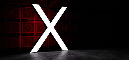 Glowing letter X in white, against the background of a wall of guitar amplifiers illuminated by red light. 3D Render Standard-Bild