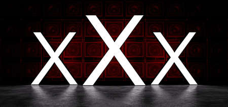 Glowing symbols in white, against the background of a wall of guitar amplifiers illuminated by red light. 3D Render