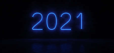 Happy New year 2021. Glowing numbers. Neon lights form the numbers 2021. 3D Render.