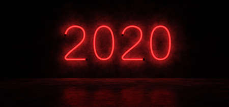 Happy New year 2020. Glowing numbers. Neon lights form the numbers 2020. 3D Render.