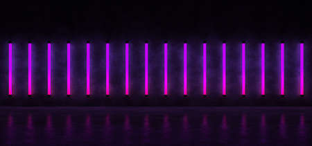 Glowing vertical stripes of purple against the concrete wall, reflected on the glossy floor. Neon lights form a horizontal stripe in a dark space. 3D Render. Imagens