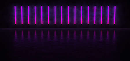 Glowing vertical stripes of purple against the concrete wall, reflected on the glossy floor. Neon lights form a horizontal stripe in a dark space. 3D Render. Standard-Bild