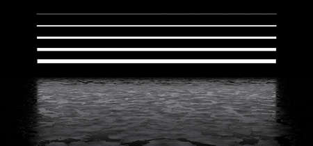 Horizontal luminous stripes in a dark space, reflected on the glossy floor. 3D render. Imagens