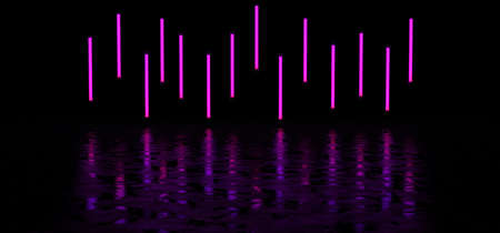 Luminous vertical stripes of purple color in a dark space reflected on the glossy floor. Neon lights form a horizontal stripe in a dark space. 3D render.