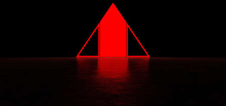 Glowing abstract red sign in the shape of a triangle in dark space. Glowing red pyramid. 3D Render Standard-Bild - 159213590