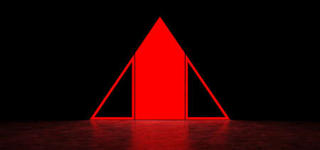 Glowing abstract red sign in the shape of a triangle in dark space. Glowing red pyramid. 3D Render