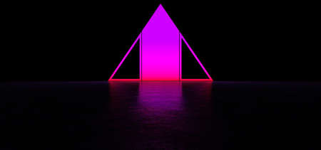 Glowing abstract purple sign in the shape of a triangle in dark space. Glowing pink pyramid. 3D Render