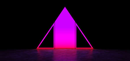 Glowing abstract purple sign in the shape of a triangle in dark space. Glowing pink pyramid. 3D Render Standard-Bild - 159213596