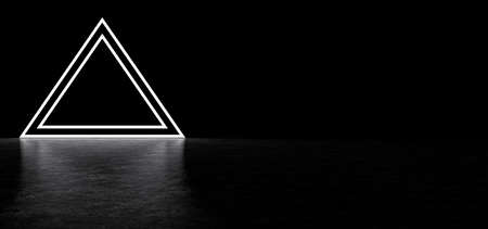 Glowing pyramid in dark space. Glowing stripes form a pyramid. Two glowing triangular frames in the shape of a pyramid. 3D Render