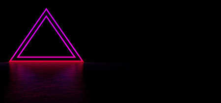 A glowing pyramid of purple in dark space. Glowing stripes form a pyramid. Two glowing triangular frames of purple color in the shape of a pyramid. 3D Render Standard-Bild