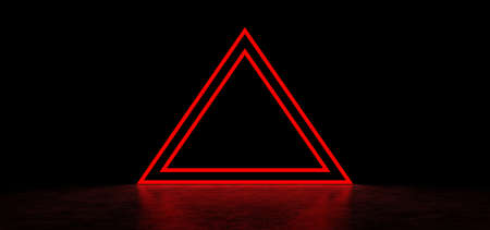 Glowing pyramid of red color in dark space. Red glowing stripes form a pyramid. Two glowing triangular frames in the shape of a pyramid. 3D Render