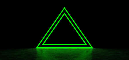 A glowing pyramid of green in dark space. Glowing stripes form a pyramid. Two glowing triangular frames of green color in the shape of a pyramid. 3D Render Standard-Bild - 161287419