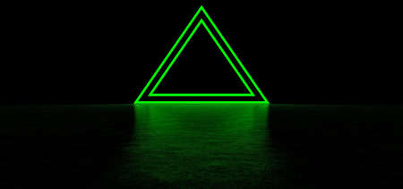 A glowing pyramid of green in dark space. Glowing stripes form a pyramid. Two glowing triangular frames of green color in the shape of a pyramid. 3D Render