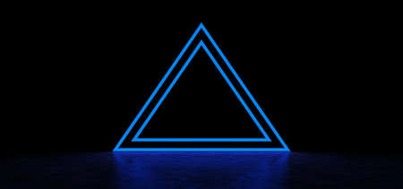 A glowing pyramid of blue in dark space. Glowing stripes form a pyramid. Two glowing triangular frames of blue color in the shape of a pyramid. 3D Render