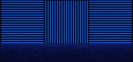 Glowing vertical and horizontal stripes in blue. Abstract glowing background of stripes. Glowing wall of blue. 3D visualization Standard-Bild